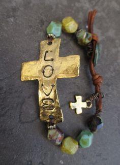 Sideways cross bracelet 'Sacrifice' love multi by slashKnots Scarf Jewelry, Leather Jewelry, Metal Jewelry, Boho Jewelry, Beaded Jewelry, Jewelry Accessories, Handmade Jewelry, Jewelry Design, Glass Jewelry