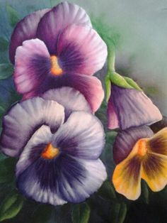 Pansy Trio painting by Arkansas artist Sheri Hart...watercolor, acrylics, colored pencil