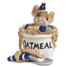 """Bowl of Oatmeal Figurine Charming Tails®  """"You Have Me Feeling All Warm And Mushy"""""""