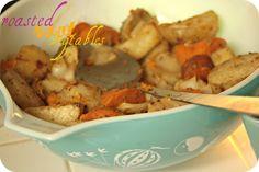 Crockpot Root Veggies:2-3 Peeled Yams, 4-5 Peeled red potatoes, 4 peeled golden potatoes, 2 peeled & chopped white/yellow onion. (1)Throw in crockpot & coat w/ EVOO. Season w/ steak seasoning & toss to coat.  Cook on high 3 hours.  Enjoy