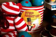 Love this Step Right Up pail for circus party