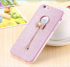 Mobile Phone Case Fashion Sparkle Glitter Crystal Diamond Cover The butterfly pendant Case For iPhone 6S 6S Plus Samsung Galaxy S7 Galaxy S7 Edge