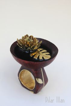 Dilar Man, Anillo madera, latón y resina - ring, wood, brass, resin