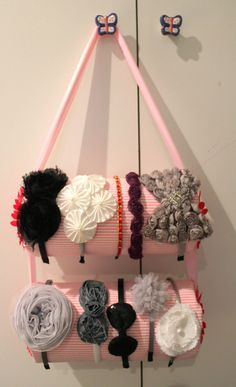 DIY headband holder | Baubles & Babbles.  Need this to organize the craziness of headbands.