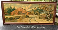 When I got this HUGE five foot long piece of framed artwork from the first auction I went to, I knew I was going to transform itinto a cha...