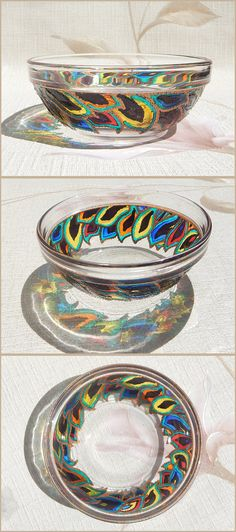 RichanaDragon ||| Fantasy feathers (c). Glass bowl (candle holder) with bright and contrast rainbow colors stylized petals pattern. Hand painted stained glass.