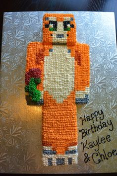 Stampy Minecraft Cake....but more pixelated, with fondant