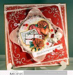 Fadengrafikkarte mit einem Stempelmotiv von Yvonne's Creations für den Cards und More Shop Blog: http://nataschas-blog.blogspot.de/2016/02/fadengrafik-zur-hochzeit.html