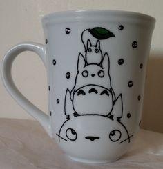 Fanart Studio Ghibli the three 3 Totoro with soot sprites Mug by BlowingOnDandelion on Etsy