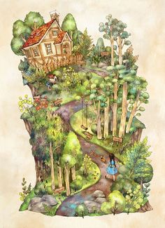 """애뽈 (Aeppol), """"On the Way Home"""" Art Anime Fille, Anime Art Girl, Art And Illustration, Fantasy Kunst, Fantasy Art, Art Fantaisiste, Art Mignon, Forest Girl, Polychromos"""