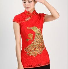 Chinese Women's Lace Embroidery Tops/Shirt Cheongsam Red Black White All Size