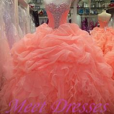 Sexy coral quinceanera dresses princesses beading glitter formal prom gowns party dress - Thumbnail 4