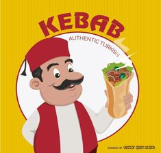 Funny Turkish chef with Kebab Sandwich over yellow background. Kebab Logo round circle in the back. Under Commons Attribution Li Turkish Chef, Turkish Doner, Döner Restaurant, Turkish Design, Kebab, Round Logo, Black Horses, Picture Logo, Logo Food