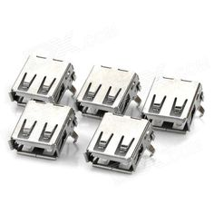 40140010W USB A Female Socket - Silver (5 PCS)