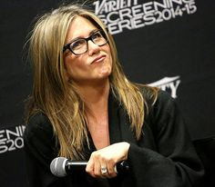 """Flaunting seriously chic black square specs, Jennifer Aniston got up close and personal about her newest film """"Cake""""—can't wait to see it!"""