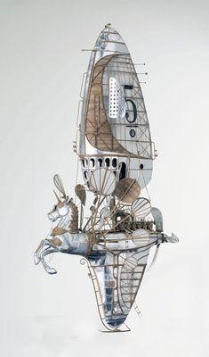 An Astounding Series of Airships Handcrafted in Cardboard by Jeroen van Kesteren #cardboard