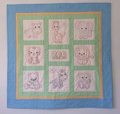 Hand Embroidered Baby Quilt, Zoo Animals, Baby Shower Gift, Nursery Bedding, Baby Blanket, Baby Christmas, Nursery Wall Hanging Handmade Baby Quilts, Thing 1, Quilt Labels, Nursery Bedding, Green Fabric, Christmas Baby, Zoo Animals, Quilt Top, Machine Quilting