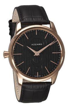 Azzaro Men's AZ2060.52BB.000 Legand Rose PVD Black Dial Watch Azzaro. $185.17. Round goldtone case. Black leather strap. Black dial. Quartz movement. Water-resistant to 99 feet (30 M). Save 61% Off!