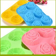 1 piece 2016 New Arrivals roses chocolate cake mold Colorful silicone cake mold DIY  kitchen  baked tools handmade soap mold