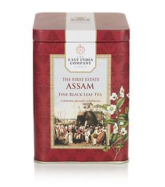 The First Estate Assam Leaf Tea. The East India Company The First Estate Assam fine black leaf Tea is a distinctive, flavourful, full bodied tea. 125g.