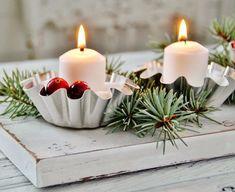 porte-bougie Noël à faire soi-même en moules à mini tartelettes vintage