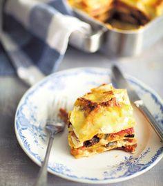 Lasagne paahdetuista kasviksista ja sitruunaricotasta