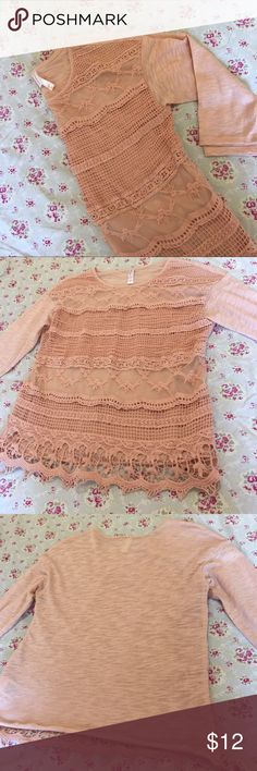 🎄Holiday Sale!Everything $10! Pink Lace Shirt! • Beautiful pink lace shirt!                                         • Quarter sleeves!                                                           • Breathable and comfortable fabric!                                 • Inquiry and offers welcome! Xhilaration Tops Blouses