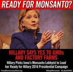 Ready for Monsanto? Hillary says yes to GMOs and Factory Farms. Hillary picks Iowa's Monsanto Lobbyist to lead her Ready for Hillary 2016 Presidential Campaign.