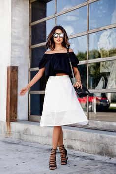 off shoulder blouse with skirt