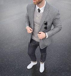 Layered gray #ConcreteCamouflage Blazer/Tie: @bananarepublic Bracelet: @miansai bind rope Denim: @shockoe_atelier slim como Shoes: @adidasoriginals Stan Smith @nordstrommen Oxford: @grayers Sweatshirt: @jcrew by thepacman82
