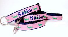 Personalized Dog Collar- Pink and Green Whales Dog Collar