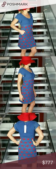 """Polka Dot dress NWT Brand new with tags  This Fabulous blue with red polka-dot dress is perfect for the season! Cozy and cute! Pair with a denim jacket and tan boots for a complete look. Features a cute pocket detail on the front  Sweater like material Size small Length approx 33.5"""" Bust approx  15"""" material has some stretch allowing bust to stretch out to approx 20.5"""". Dresses"""