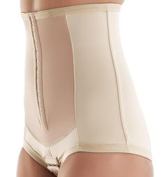 The Bellefit postpartum corset with front hook-eye closures features individually sewn & layered panels that come together to evenly distribute tension & provide 360 degree support to women's cores after pregnancy thus promoting a faster recovery. Made with Medical-Grade & hypoallergenic fabric. Available in Plus Size.