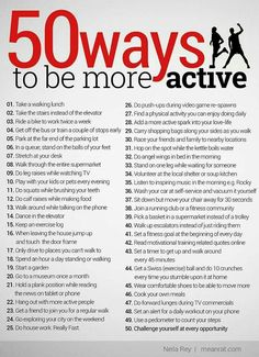 50 simple ways to be more active