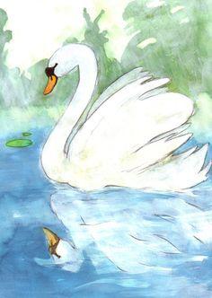 Ruma ankanpoikanen | Papunet гадкий утенок Twelve Days Of Christmas, Swans, Flag, Birds, Watercolor, Painting, Art, Crewel Embroidery, Watercolor Painting