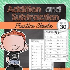 Addition and Subtraction - Practice Sheets (up to 30) by Cheeky Cherubs Math Activities, Teacher Resources, Fun Math, Teaching Ideas, Reading Resources, Math Worksheets, Math Skills, Math Lessons, Addition And Subtraction Practice