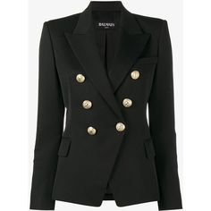 Balmain Double Breasted Blazer (119.315 RUB) ❤ liked on Polyvore featuring outerwear, jackets, blazers, coats & jackets, balmain, black, peaked lapel blazer, peak lapel blazer, blazer jacket and double breasted jacket