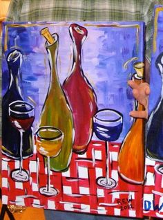 wine bottles on tablecloth - The Paint Bar
