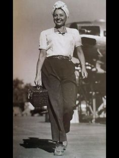 1940s working gal casual work wear pants shirt shoes turban hair found photo print war era vintage fashion style rosie riveter
