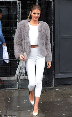 Dressed to impress: Chloe Sims was the centre of attention as she filmed TOWIE scenes in a midriff-flashing white top on Sunday