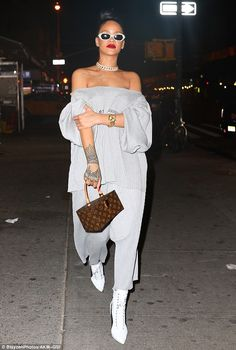Legging it with Louis Vuitton: Rihanna was spotted heading to the Up&Down nightclub in Manhattan on Thursday night