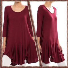 FLARED SKIRT TUNIC DRESS BURGUNDY - LARGE Super soft, yet well constructed; dress it up or down; wear as dress or tunic over tights/leggings/jeans.  Available in 3 colors : BURGUNDY, BLACK, ROYAL BLUE. Sizes: S/M/L  95/5 Rayon/Spandex, Length is 34 inches long, made in USA. price is FIRM, unless bundled. NO TRADES. This listing is for a LARGE IN BURGUNDY Rouge Dresses High Low