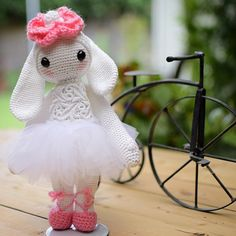 "My #ballerina #lalylala #ritatherabbit I love, love my little rabbit !! She stands 9"" tall, made with #AuntLydias crochet thread number3. Thanks again @laly_dia for creating the doll patterns! I..."