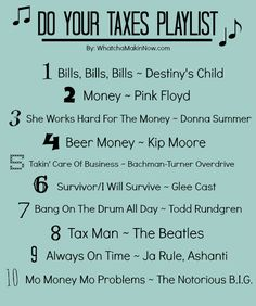 Do Your Taxes Playlist from - Mo Money Mo Problems, Takin Care of Business, and more! Office Humor, Work Humor, Tax Memes, Accounting Jokes, Cost Accounting, Taxes Humor, Tax Day, Mo Money, Workout Memes
