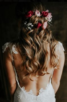 Beautiful bridal hair with our Rosemary Wedding Dress with low back from Romantique by Claire Pettibone