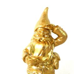 gold gnome statue, gnomes, metallic gold, home decor, figurines, quirky