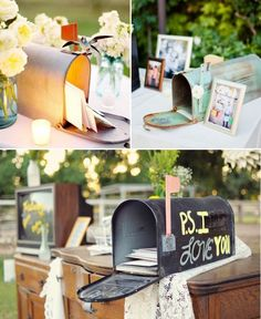 Rustic Garden Wedding love the mailbox for the travel postcards for messages from our guests