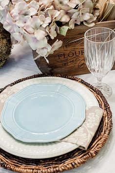 Robin Egg Blue and White with wicker charger Tablescape