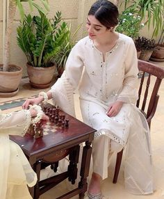 A blend of pure cotton net with hand sheesha work. Fully embroidered pure organza dupatta, paired with raw silk trousers. Making weeksShipping Business days Pakistani Fashion Party Wear, Pakistani Dresses Casual, Pakistani Bridal Dresses, Pakistani Dress Design, Indian Dresses, Indian Outfits, Bridal Lehenga, Stylish Dresses, Simple Dresses