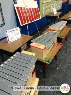 The instrument petting zoo in action for parent teacher conferences! Classroom Setup, Music Classroom, Classroom Organization, Classroom Management, Music Lessons For Kids, Music For Kids, Teaching Music, Teaching Kindergarten, Teaching Ideas